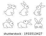 a set of cute rabbits. black... | Shutterstock .eps vector #1933513427