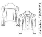 girls denim jacket fashion flat ...   Shutterstock .eps vector #1933537091