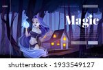 Magic Banner With Mystic Girl...