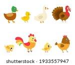 set of vector farm birds in...   Shutterstock .eps vector #1933557947
