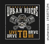 skull on motorbike  t shirt...   Shutterstock .eps vector #1933575194