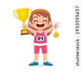 happy cute little girl holding... | Shutterstock .eps vector #1933595657