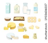 set of dairy products. milk in... | Shutterstock .eps vector #1933606037