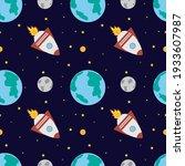 a space rocket flies near the...   Shutterstock .eps vector #1933607987