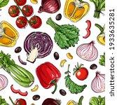 vector vegetables food pattern... | Shutterstock .eps vector #1933635281