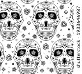 doodle skull with flowers and... | Shutterstock .eps vector #1933646987