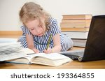 smart little girl writes... | Shutterstock . vector #193364855