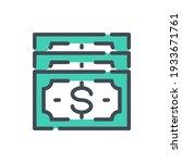 dollar banknotes color line...