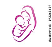 mother and her baby silhouette  ... | Shutterstock .eps vector #193368689