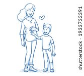 happy young pregnant mother in... | Shutterstock .eps vector #1933732391