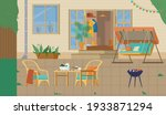 house backyard or patio with...   Shutterstock .eps vector #1933871294