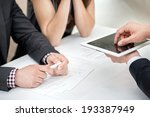 close up of hands with tablet... | Shutterstock . vector #193387949