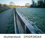 Frost On A Barbed Wire Fence In ...