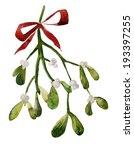 mistletoe  christmas  watercolor | Shutterstock .eps vector #193397255