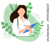 female doctor with blue tablet  ... | Shutterstock .eps vector #1934106014