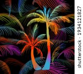 multicolored palm leaves.... | Shutterstock .eps vector #1934121827