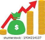 money increase icon on white... | Shutterstock .eps vector #1934214137