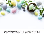Colorful Easter Eggs With...