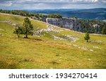 Landscape in the region of Creux-du-Van of cantone Neuenburg (Neuchatel), Switzerland
