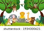 vector cute jungle animals in... | Shutterstock .eps vector #1934300621