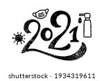distressed 2021 hand drawn... | Shutterstock .eps vector #1934319611