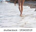 woman walking on the sand beach | Shutterstock . vector #193433519