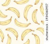 hand drawn seamless banana...   Shutterstock .eps vector #1934360957