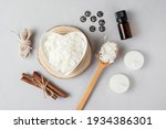 Small photo of Basic set for home-made natural white eco soy wax candles in glass, wick, perfume. Idea for a hobby, business. Making trendy diy candles without harm to health on white background.