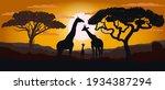 silhouette of giraffes of the... | Shutterstock .eps vector #1934387294