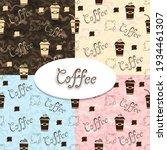 vector set of coffee seamless... | Shutterstock .eps vector #1934461307