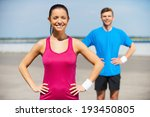 sporty couple. handsome young... | Shutterstock . vector #193450805