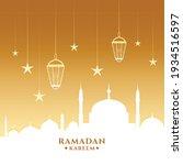 ramadan kareem card with mosque ... | Shutterstock .eps vector #1934516597