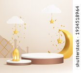 3d luxury islamic platform with ... | Shutterstock .eps vector #1934518964