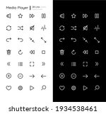 media player linear icons set...