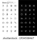 basic linear icons set for dark ...