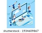 isometric boys and girls... | Shutterstock .eps vector #1934609867