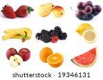poster of nine different fruits ...   Shutterstock . vector #19346131