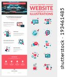 One page website design template. All in one set for website design that includes one page website templates and set of flat design concept illustrations for banners and web content.