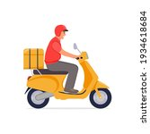 delivery  the guy on the moped... | Shutterstock .eps vector #1934618684