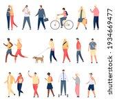 people walk. flat characters... | Shutterstock .eps vector #1934669477