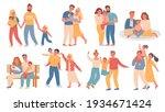 happy families. parent and kid... | Shutterstock .eps vector #1934671424