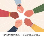 raised fists. successful team... | Shutterstock .eps vector #1934673467