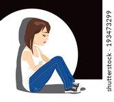 Sad Teenager Girl Crying...
