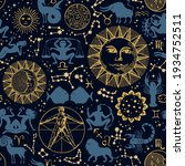 seamless pattern with zodiac... | Shutterstock .eps vector #1934752511