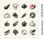 Vegetables web icon set