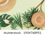 Tropical Palm Leaves  Straw Hat ...