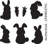 cute bunny and carrot silhouette | Shutterstock .eps vector #1934813741