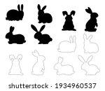 set of easter bunnies. easter... | Shutterstock .eps vector #1934960537
