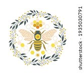 ornate folksy floral bee in... | Shutterstock .eps vector #1935030791