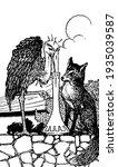 fox and stork  this scene shows ...   Shutterstock .eps vector #1935039587